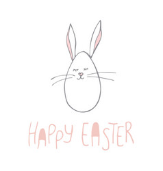 cute hand-drawn bunny poster for kids vector image
