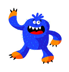Cute roaring monster with funny face fangs blue vector