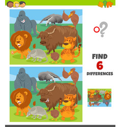 Differences game with wild animal characters group vector