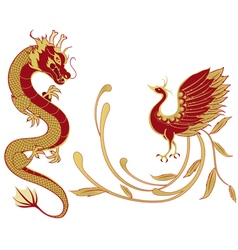 Dragon and phoenix for chinese symbolism vector