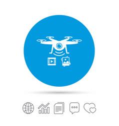 Drone icon quadrocopter with video camera vector