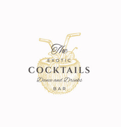 exotic cocktails abstract sign symbol vector image