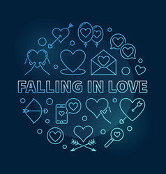 Falling in love round blue outline vector