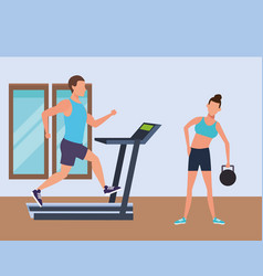 fitness people and gym vector image