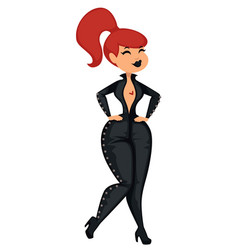 Girl in skinny leather or latex suit sexy vector