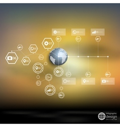 Globe world blurred infographic template for vector image