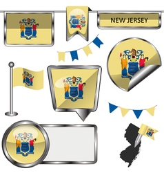 Glossy icons with new jerseyan flag vector