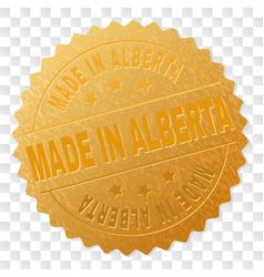 Golden made in alberta badge stamp vector