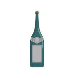 Green wine bottle isolated champagne flask on vector