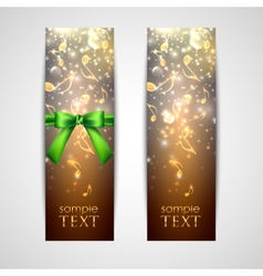 Greeting cards with flowing golden notes vector