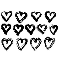 hand-painted ink with hearts vector image