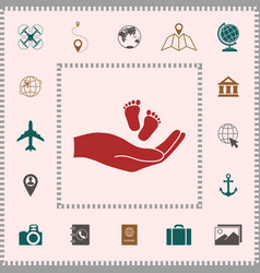 Hands holding baby foot elements for your design vector