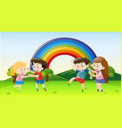Happy children dancing in park vector