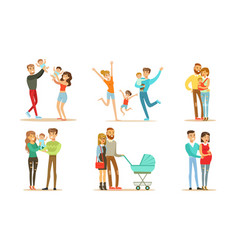 happy families set smiling mother father and vector image