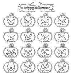 happy halloween - plain sticker pumpkin vector image