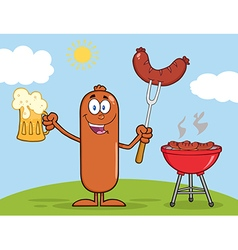 Happy Sausage Cartoon Enjoying a Barbeque vector image