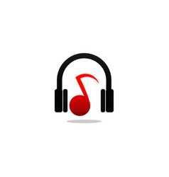 headphone and note music logo and icon design vector image