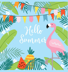 Hello summer greeting card invitation vector