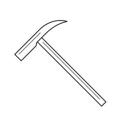 Ice ax line icon vector