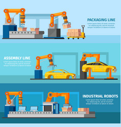 industrial automated manufacturing banners vector image