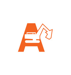 initial letter a excavator logo concept vector image