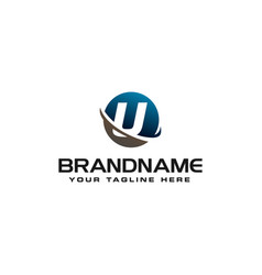 Initial u technology swoosh company letter logo vector
