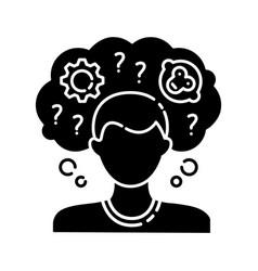 Intellectual disability black glyph icon vector