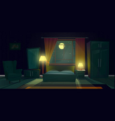Interior of bedroom with furniture at night vector