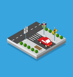 isometric set cars and trucks transport vector image