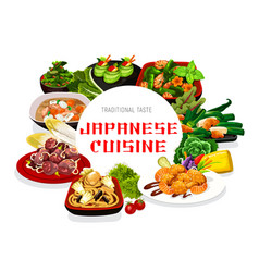 Japanese cuisine menu poster vector