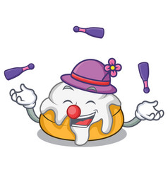 Juggling cinnamon roll mascot cartoon vector