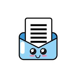 Kawaii cute happy e-mail message vector