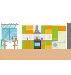 kitchen with furniture cozy kitchen interior with vector image