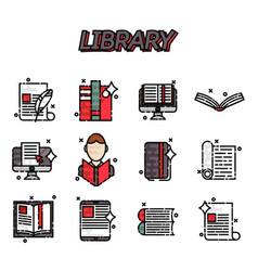 library flat icons set vector image