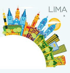 Lima peru city skyline with color buildings blue vector