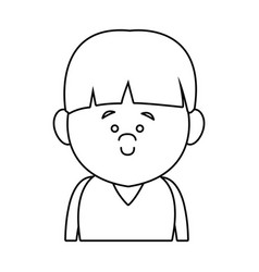Little boy face smile expression cartoon kid vector