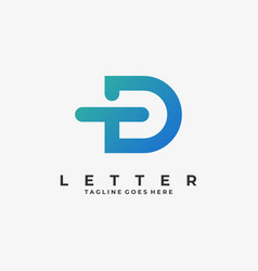 Logo abstract letter t d line shape colorful style vector