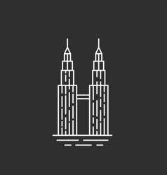Malaysia landmark twin towers vector