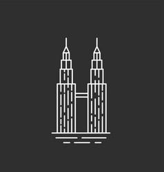 Malaysia landmark twin towers vector