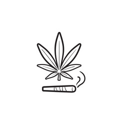 marijuana joint and leaf hand drawn outline doodle vector image