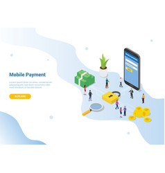 Mobile payment concept with smartphone security vector