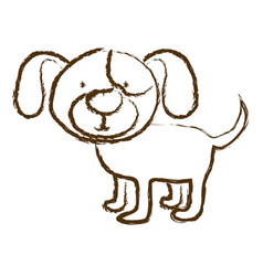Monochrome hand drawn silhouette of dog vector