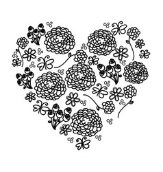 monochrome silhouette vintage heart with pattern vector image