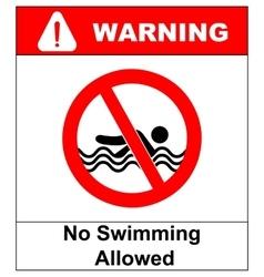 No swimming warning signs vector image