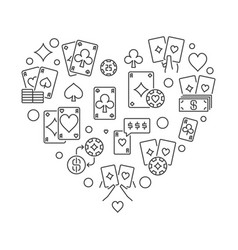poker concept heart shaped outline vector image