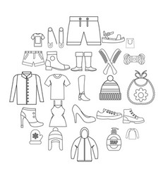 present icons set outline style vector image