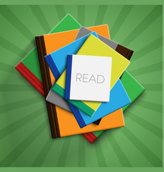 realistic colorful books with green background vector image