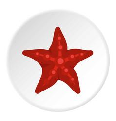 red starfish icon circle vector image
