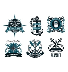 Retro marine and nautical heraldic emblems vector image