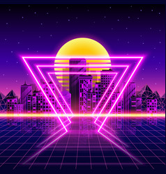 Retro neon city background neon style 80s vector